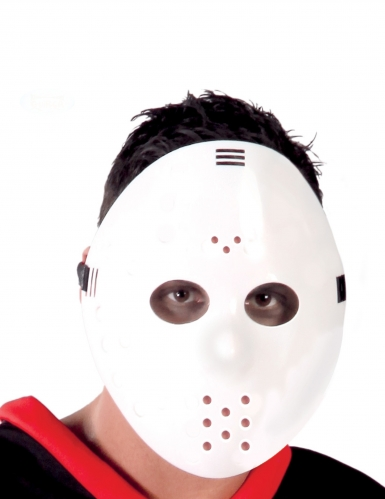 Gruselige Hockeymaske für Erwachsene Horrorfilm-Zubehör weiss