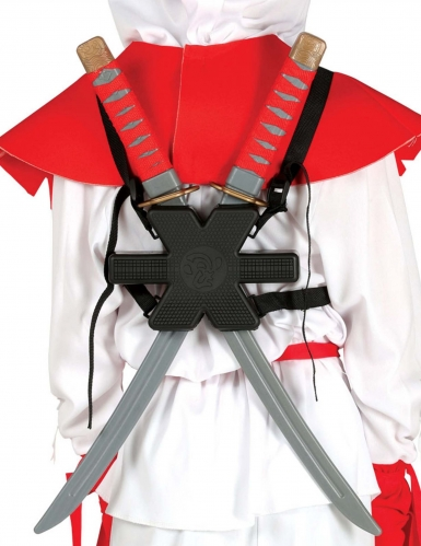Samurai-Schwerter Ninja-Schwerter mit Halterung für Erwachsene silber-schwarz 55 cm
