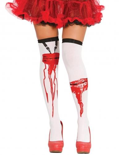 Blutige Strümpfe für Damen weiss-rot-schwarz