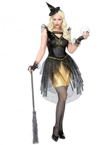 Gheimnisvolle Mondhexe Damen-Kostüm schwarz-goldfarben