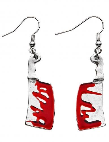 Blutige Beile Halloween-Ohrringe für Erwachsene silberfarben-rot
