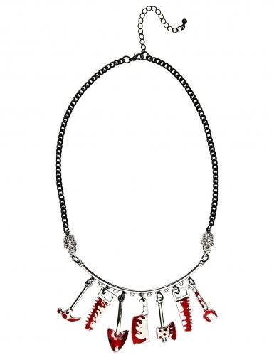 Blutige Werkzeug-Halskette Halloween-Accessoire silber-rot