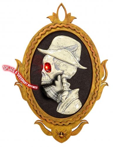 Skelett-Porträt mit Lichteffekt und Sound Partydeko weiss-schwarz-gold 32x48 cm