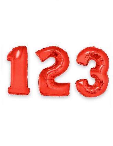 Ziffern-Ballon Zahlen-Luftballon rot 1m