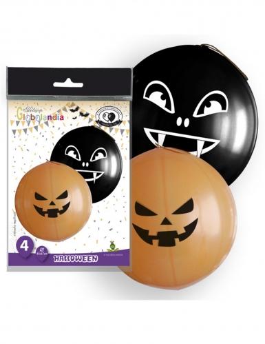 Halloween-Luftballons mit Kürbismotiv Halloween-Deko 4-teilig orange-schwarz 47cm