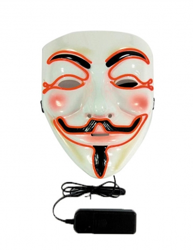 LED-Maske Anonymous weiss-schwarz-orange