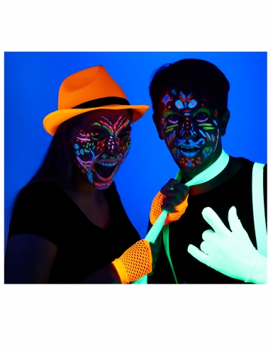 UV-Make-up-Set Skelett Dia de los Muertos 6-teilig bunt