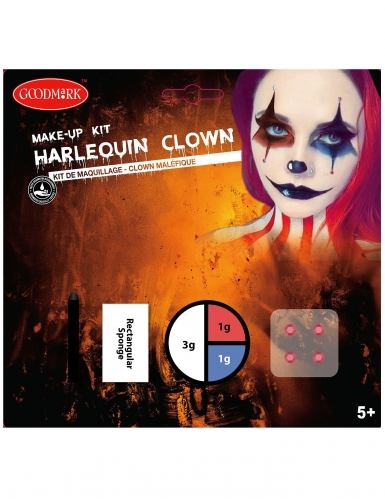 Horrorclown Make-up Set 4-teilig bunt