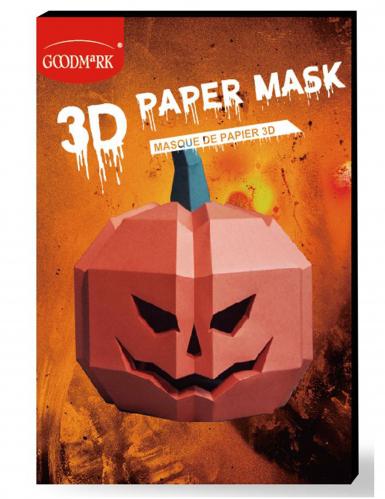 3D Kürbis-Papiermaske für Erwachsene orangefarben-grün