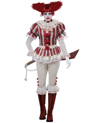 Psychoclown-Damenkostüm rot-weiss