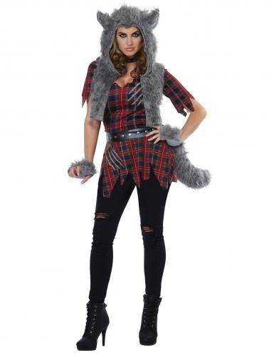 Werwolf-Kostüm für Damen rot-grau-schwarz