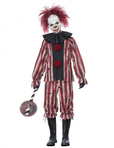 Dämonischer Horrorclown Herren-Kostüm für Halloween weiss-rot-schwarz