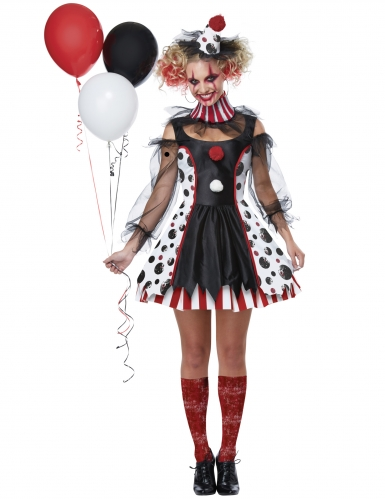 Psychoclown Damen-Clown für Halloween schwarz-weiss-rot