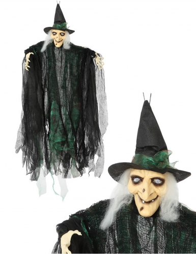 Hexen-Hängedeko schwarz-grün 110 cm