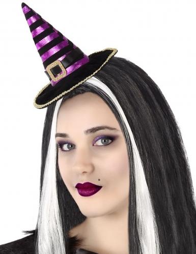 Haarband mit Hut für erwachsene Hexen schwarz-violett-goldfarben