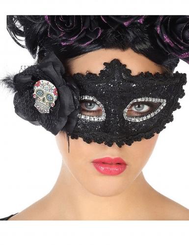 Glitzernde Dia de los Muertos Augenmaske für Erwachsene bunt