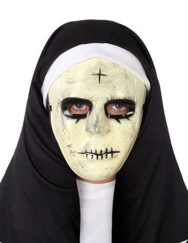 Horror-Nonne Maske für Damen schwarz-weiß