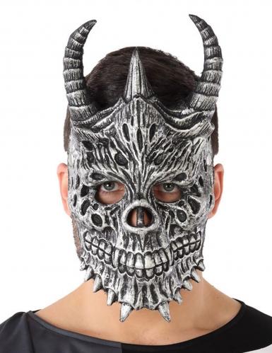 Knochige Drachenmaske für Erwachsene grau