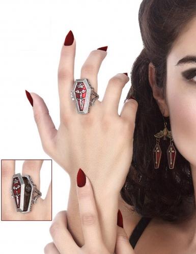 Damen Vampir-Ring aus Metall silber-rot