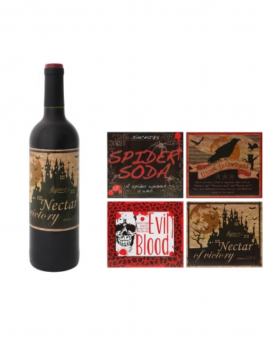 Düstere Flaschen-Etiketten für Halloween 4 Stück bunt