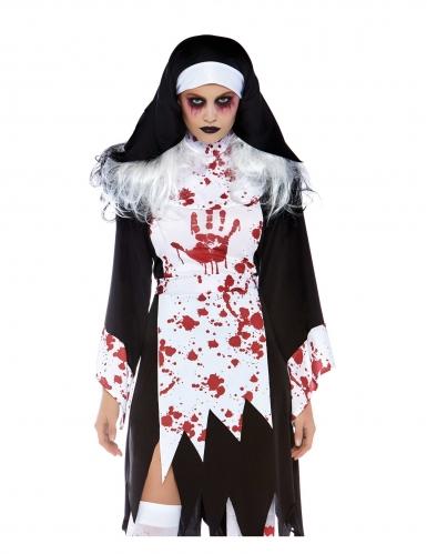 Horror-Nonnenkostüm für Damen schwarz-weiss-rot