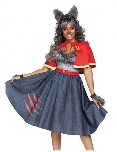 Sexy Werwolf-Schulmädchenkostüm für Damen Halloween-Kostüm rot-blau