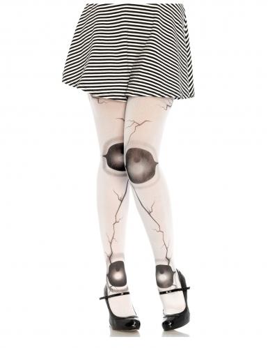 Horrorpuppe Strumpfhose für Damen schwarz-weiss