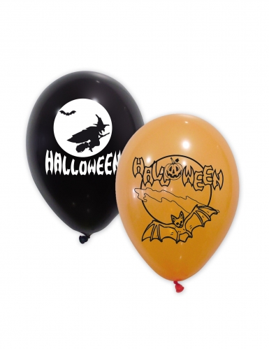 Halloween-Latexballons 10 Stück schwarz-orange-weiss 30 cm