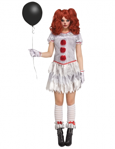 Killerclown Damen-Kostüm weiss-rot-grau