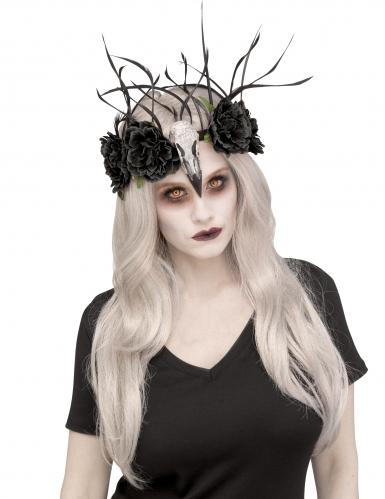 Hexenrabe-Kopfschmuck für Damen schwarz-weiss