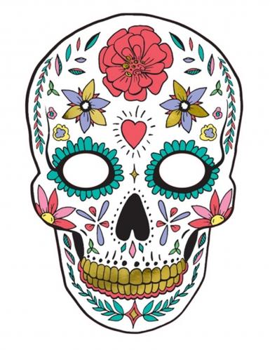 Calavera-Pappmaske Sugar Skull bunt 19 x 28 cm