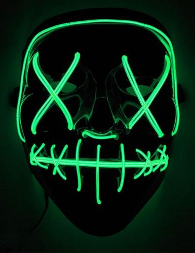 Horrorfilm LED-Maske für Erwachsene Horrornacht schwarz-grün