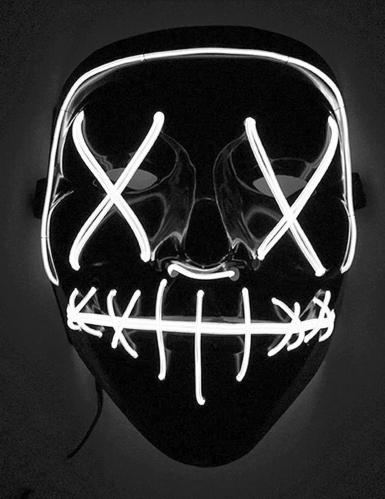LED Film-Maske Horrornacht schwarz-weiss