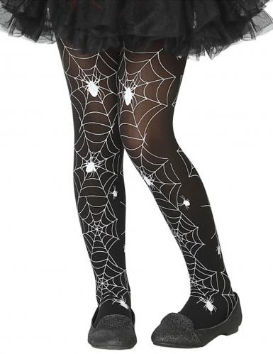 Spinnennetz-Strumpfhose für Kinder schwarz-weiß