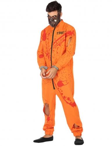 Blutiges Gefangenen-Kostüm für Herren orangefarben-rot-schwarz