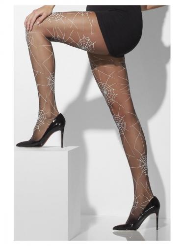Strumpfhose mit Spinnennetz-Muster für Damen schwarz-weiss