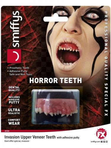 Horror-Zähne Luxus-Prothese für Erwachsene rot-weiß