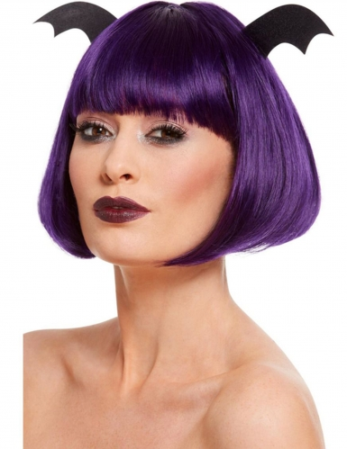 Fledermaus-Bobperücke für Damen violett-schwarz