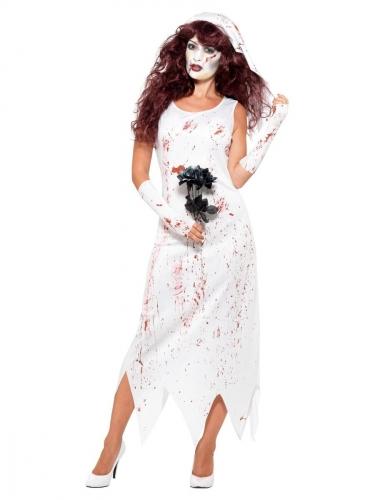Mörder-Braut Damen-Kostüm weiss-rot