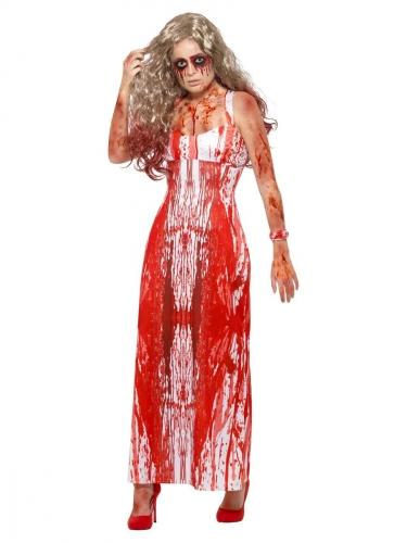 Blutiges Abschlussball-Kostüm für Damen weiss-rot