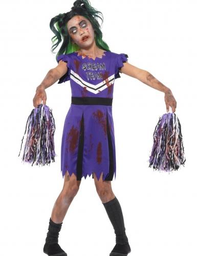 Zombie Cheerleader-Kostüm für Mädchen violett-schwarz-weiss