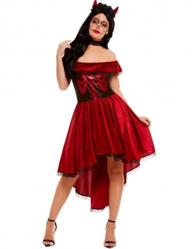 Dia-de-los-Muertos-Kostüm für Damen Skelett-Kleid Halloween rot