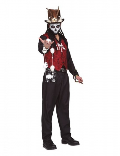 Grausamer Hexendoktor Voodoo-Kostüm für Herren schwarz-rot-weiss