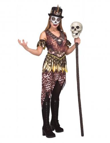 Wilde Voodoo-Kannibalin Damen-Kostüm für Halloween braun-weiss-gold