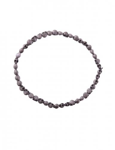 Totenkopf-Halskette Voodoo-Schmuck grau 54 cm
