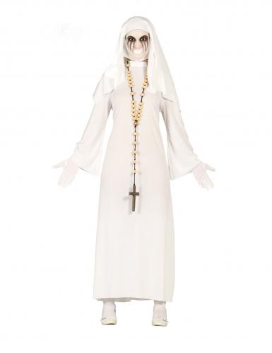 Grausige Geisternonne Damenkostüm für Halloween weiss