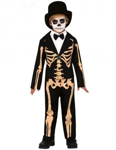 Eleganter Skelett-Gentleman Kinder-Kostüm schwarz-beige