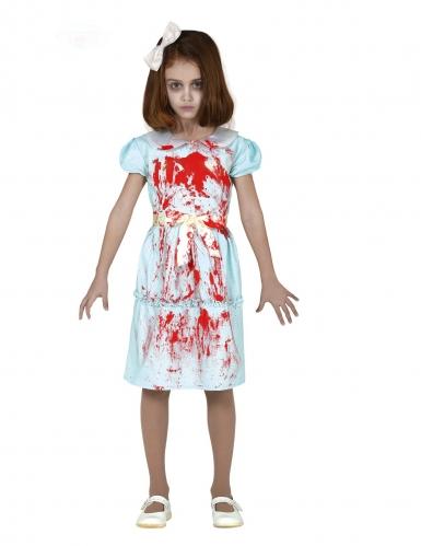 Geister-Zwilling Kostüm für Mädchen blau-weiss-rot