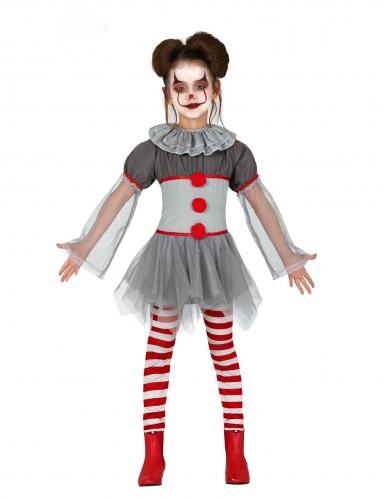 Clown-Mädchen-Kostüm für Halloween Kleid mit Leggins grau-rot