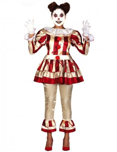 Fürchterlicher Clown Damen-Kostüm für Halloween goldfarben-rot